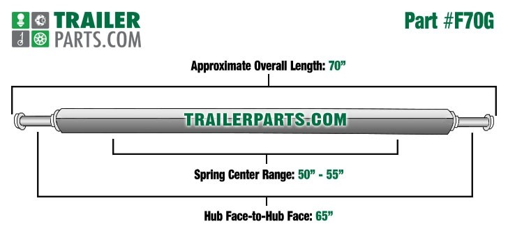 "Galvanized 2"" Square Trailer Axle - 2,000 lbs. Capacity with 1 1/16"" Spindles - 65"" Hub Face"