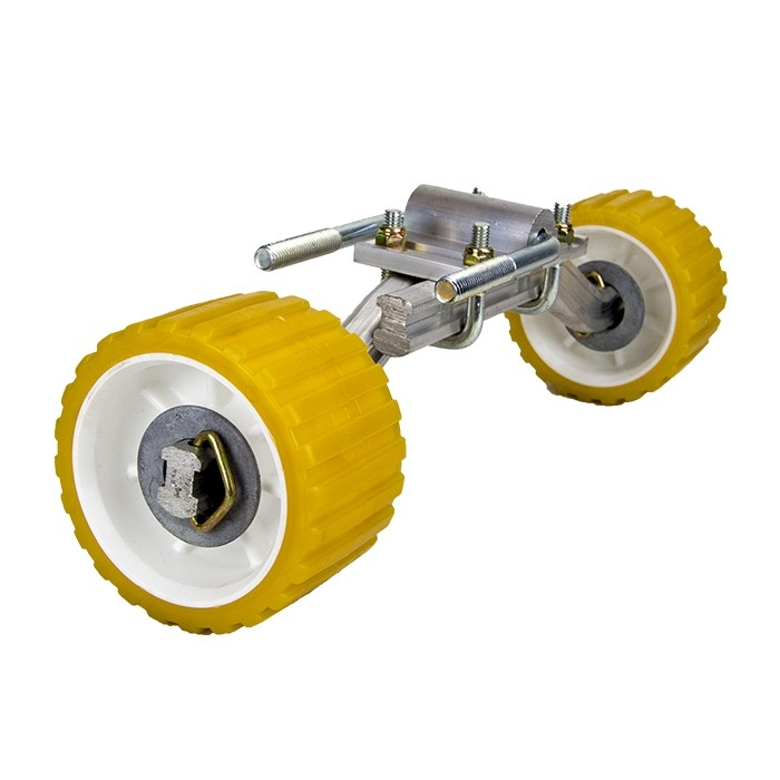 """Double Roller Assembly with Adjustable Arms - 3"""" x 5"""" x 1 1/8"""" Rollers"""