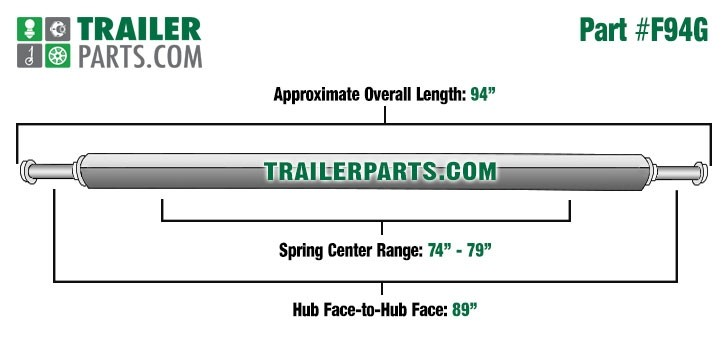 "Galvanized 2"" Square Trailer Axle - 2,000 lbs. Capacity with 1 1/16"" Spindles - 89"" Hub Face"