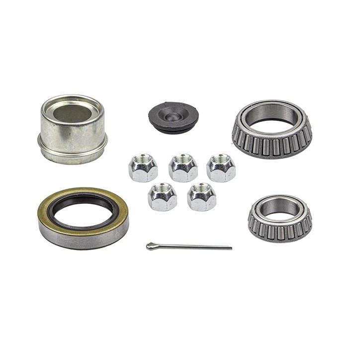 """1 1/16"""" x 1 3/8"""" Bearing Kit with L68149 and L44649 Bearings, GS6 Grease Seal, 4LN Lug Nuts, and Lube Dust Cap"""