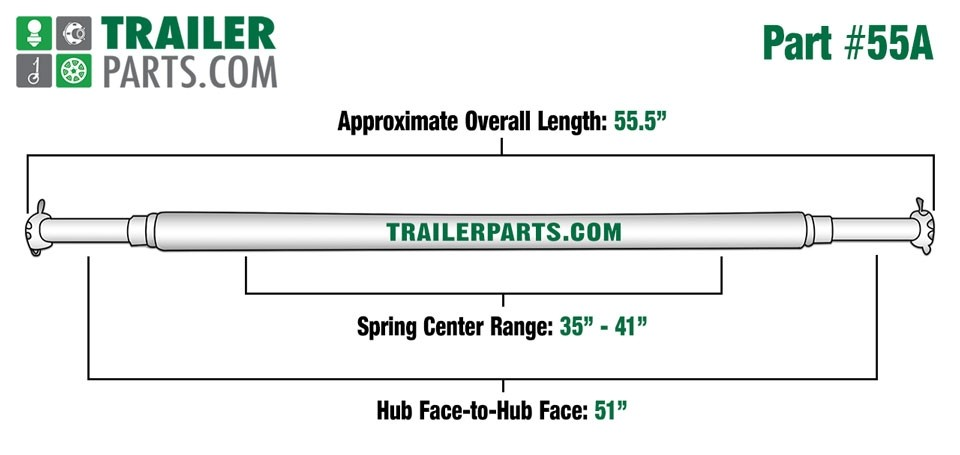 """Painted 1 3/4"""" Round Trailer Axle - 2,000 lbs. Capacity with 1"""" Spindles - 51"""" Hub Face"""