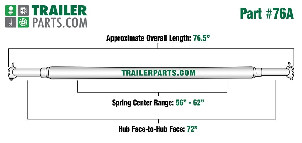 """Painted 1 3/4"""" Round Trailer Axle - 2,000 lbs. Capacity with 1"""" Spindles - 72"""" Hub Face"""