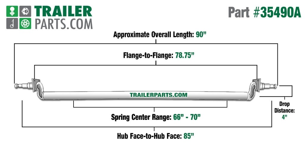 """Painted 2 3/8"""" Round Trailer Axle - 3,500 lbs. Capacity with 1 3/8"""" x 1 1/16"""" Spindles - 4"""" Drop - 85"""" Hub Face"""