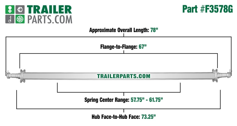 "Galvanized 2"" Square Trailer Axle - 3,500 lbs. Capacity with 1 3/8"" x 1 1/16"" Spindles - 73.25"" Hub Face"