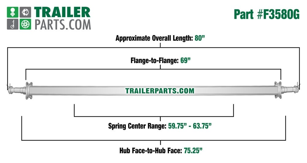 """Galvanized 2"""" Square Trailer Axle - 3,500 lbs. Capacity with 1 3/8"""" x 1 1/16"""" Spindles - 75.25"""" Hub Face"""