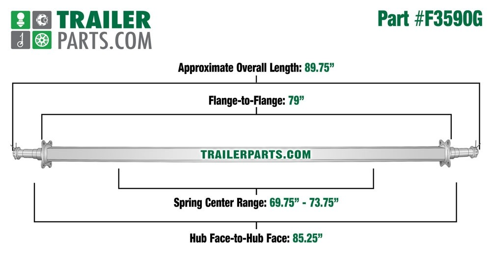 """Galvanized 2"""" Square Trailer Axle - 3,500 lbs. Capacity with 1 3/8"""" x 1 1/16"""" Spindles - 85.25"""" Hub Face"""