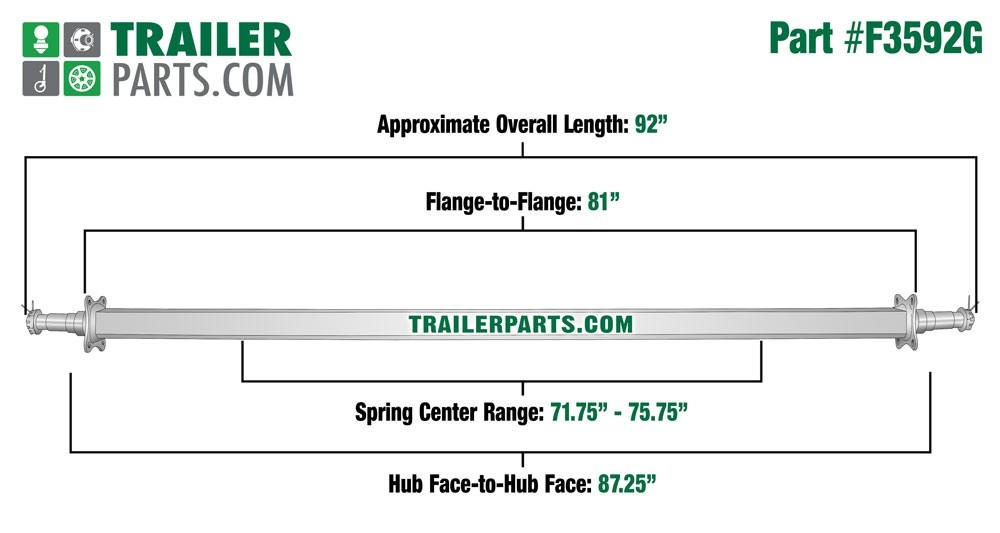 "Galvanized 2"" Square Trailer Axle - 3,500 lbs. Capacity with 1 3/8"" x 1 1/16"" Spindles - 87.25"" Hub Face"