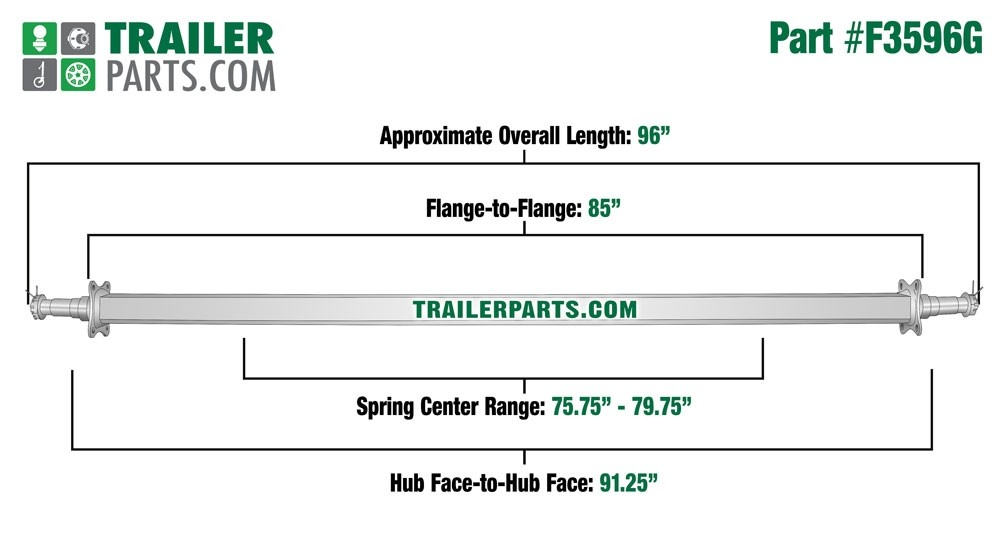 """Galvanized 2"""" Square Trailer Axle - 3,500 lbs. Capacity with 1 3/8"""" x 1 1/16"""" Spindles - 91.25"""" Hub Face"""