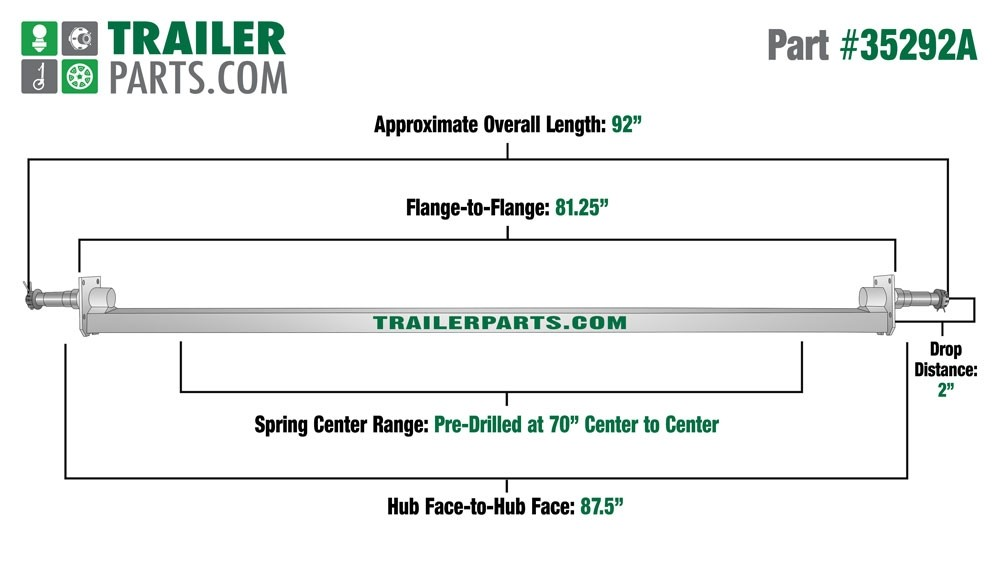 "Galvanized 2"" x 2"" Square Trailer Axle - 3,500 lbs. Capacity with 1 3/8"" x 1 1/16"" Spindles - 2"" Drop - 87.5"" Hub Face"