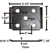 "Oiled Axle Tie Plate with Bent Ends for 2"" Axle and 1 3/4"" Spring"