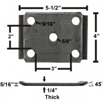 "Oiled Axle Tie Plate with Bent Ends for 3"" Axle and 2"" Spring"