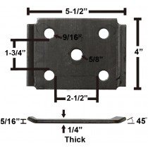 "Oiled Axle Tie Plate with Bent Ends for 2 3/8"" Axle and 1 3/4"" Spring"