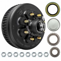 "Dexter 12 1/4"" x 3 3/8"" Brake Drum - 8 on 6-1/2"" with 1 3/4"" x 1 1/4"" Bearings (25580 x 02475) - 9/16"" Studs"