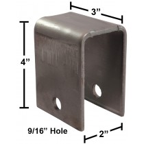 "Leaf Spring Hanger for 1 3/4"" Spring - 4"" Height - Raw Steel - Weld-On"