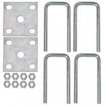 """1 1/2"""" Square Axle U-Bolt Kit with Galvanized Plates - 4"""" Long"""