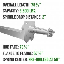 "Galvanized 2"" x 2"" Square Trailer Axle - 3,500 lbs. Capacity with 1 3/8"" x 1 1/16"" Spindles - 2"" Drop - 73.5"" Hub Face"