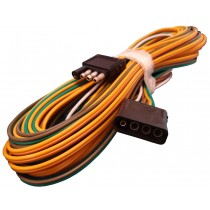 """25' Wishbone Harness - 4-Way Flat Car and Trailer Ends - 18"""" Ground  Wire and 48"""" Car Connector with 18"""" Ground Wire"""