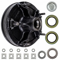 "12"" x 2"" Rim Clamp Style Brake Drum - 5 on 9.4"" Bolt Circle with 1 3/4"" x 1 1/4"" Bearings (25580 x 15123) - 9/16"" Studs"