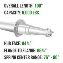 """Painted 3"""" Round Trailer Axle - 6,000 lbs. Capacity with 1 3/4"""" x 1 1/4"""" Spindles - 94.75"""" Hub Face"""