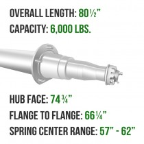 """Painted 3"""" Round Trailer Axle - 6,000 lbs. Capacity with 1 3/4"""" x 1 1/4"""" Spindles - 74.75"""" Hub Face"""
