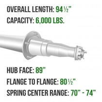 """Painted 3"""" Round Trailer Axle - 6,000 lbs. Capacity with 1 3/4"""" x 1 1/4"""" Spindles - 89"""" Hub Face"""