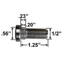 "1/2"" Wheel Stud - 1.25"" Usable Length - .56"" Knurl Diameter"