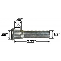 "1/2"" Wheel Stud - 2.22"" Usable Length - .60 Knurl Diameter"