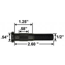 "1/2"" Wheel Stud - 2.60"" Usable Length - .54"" Knurl Diameter"