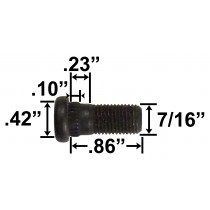 "7/16"" Wheel Stud - .86"" Usable Length - .42"" Knurl Diameter"