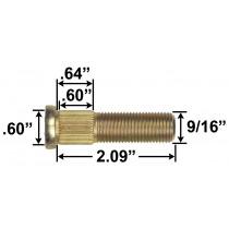 "9/16"" Wheel Stud - 2.09"" Usable Length - .60"" Knurl Diameter"