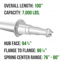 """Painted 3"""" Round Trailer Axle - 7,000 lbs. Capacity with 1 3/4"""" x 1 1/4"""" Spindles - 94.75"""" Hub Face"""