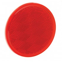 "Reflector 3-3/16"" Round Adhesive Mount Red"