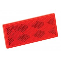 "Rectangular 3-1/4"" x 1-1/2"" Red Reflector w/Adhesive Mount"