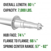 """Painted 3"""" Round Trailer Axle - 7,000 lbs. Capacity with 1 3/4"""" x 1 1/4"""" Spindles - 74.75"""" Hub Face"""