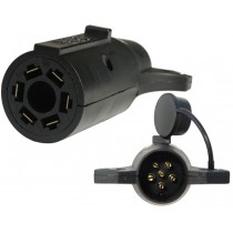 7-Way Flat Pin to 6-Way Round Pin Connector Adapter - Center Pin is Brake