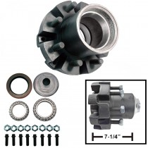 "8 Bolt on 6 1/2"" High Profile Trailer Hub with 2.25"" x 2.625"" (28682 & 3984) Bearings - Fits 9-28 Drum"