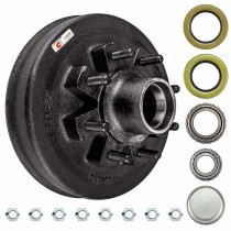 "Dexter 12"" x 2"" Brake Drum - 8 on 6 1/2"" with 1 3/4"" x 1 1/4"" Bearings (25580 x 14125A) - 9/16"" Studs"