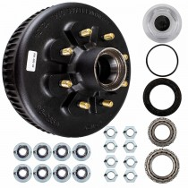 "Dexter 12 1/4"" x 3 3/8"" Oil Bath Brake Drum - 8 on 6 1/2"" Bolt Circle with 1 3/4"" x 1 1/4"" Bearings (25580 x 02475) - 9/16"" Studs"