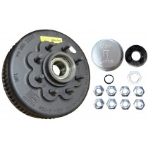 "Dexter 12 1/4"" x 3 3/8"" Nev-R-Lube Brake Drum - 8 on 6-1/2"" Bolt Circle with 31-071 (50 mm) Bearing Cartridge - 5/8"" Studs"