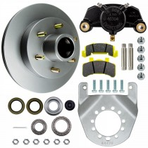 """Tie Down Engineering 12"""" Integral Disc Brake Assembly - 6 on 5 1/2"""" - Galv-X Coated Rotors"""