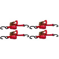 "4 piece Red 1"" x 6' Ratchet Strap with Rubber Handle"
