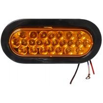 """6 1/2"""" Oval LED Strobe Light - 24 LEDs - Amber"""