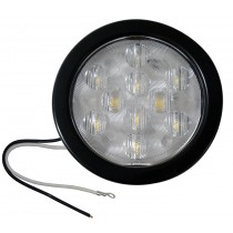 """4"""" Round LED Back-Up Light with Grommet and Plug - 10 LEDs - Clear"""