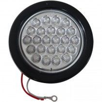 """4"""" Round LED Back-Up Light with Grommet and Plug - 24 LEDs - Clear"""