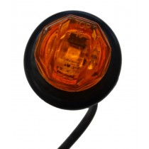 "3/4"" Round - Amber - Marker Light with Grommet and Plug"