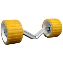 "Dual Wobble Roller Assembly with 3"" x 5"" Yellow Wobble Rollers on 14"" ""V"" Bend Arm"