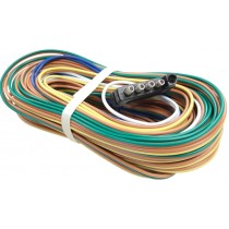 """35' Wire Harness - 5-Way Flat Trailer End Connector - 48"""" Ground Wire - 60"""" Auxiliary Wire for Back-Up Solenoid"""