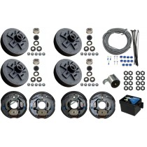 "Tandem Axle Electric Brake Kit - 10"" 5-Bolt Drum Brakes with Wire, Breakaway Kit, and Plug - 7,000 lbs."