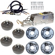 "Tandem Axle Hydraulic Brake Kit -  10"" 5-Bolt Drum Brakes with Actuator and Flexible Lines - 6,600 lbs."