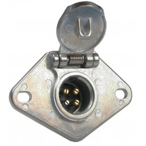 4-Way Round Metal Trailer Wiring Connector - Car End